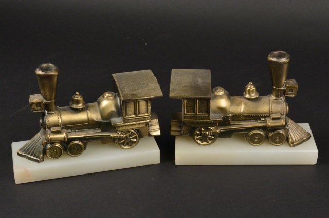 Pair of Locomotive Steam Engine Book Ends