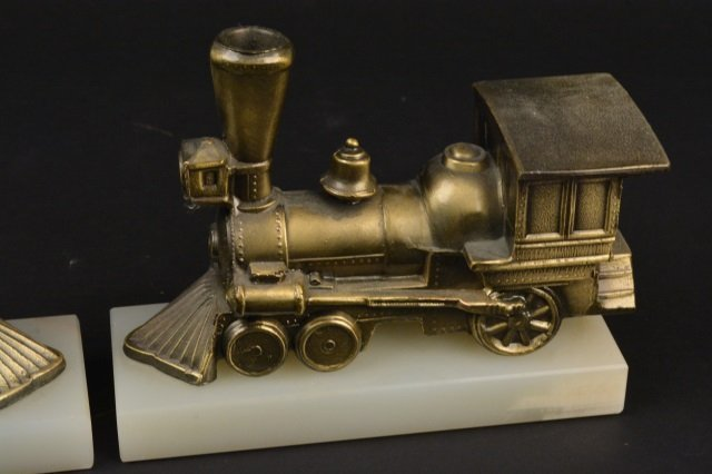 Pair of Locomotive Steam Engine Book Ends - 2