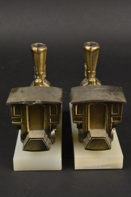 Pair of Locomotive Steam Engine Book Ends - 3