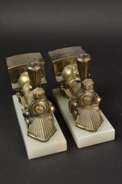 Pair of Locomotive Steam Engine Book Ends - 4