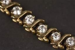4.0 CT Diamond 14K Yellow Gold Tennis Bracelet