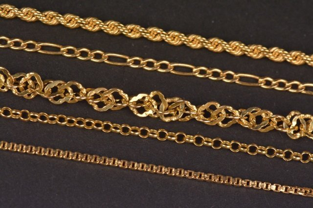 (5) 14K Yellow Gold Bracelets.
