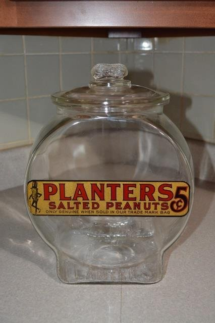 Large Planters 5 Cent Counter Display Jar W/ Lid