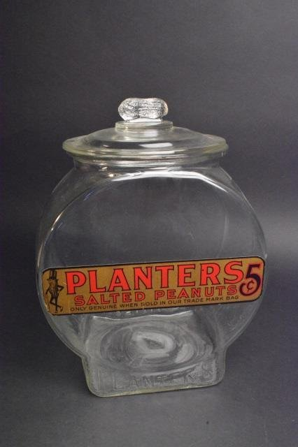 Large Planters 5 Cent Counter Display Jar W/ Lid - 3