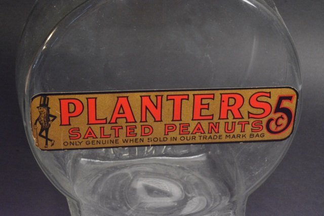 Large Planters 5 Cent Counter Display Jar W/ Lid - 4