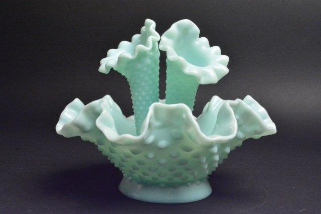 Fenton Epergne Opalescent Hobnail Vase