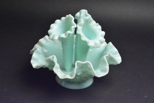 Fenton Epergne Opalescent Hobnail Vase - 2