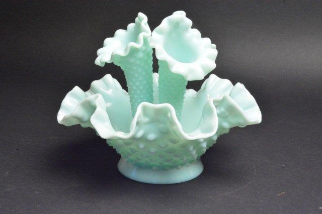Fenton Epergne Opalescent Hobnail Vase - 3