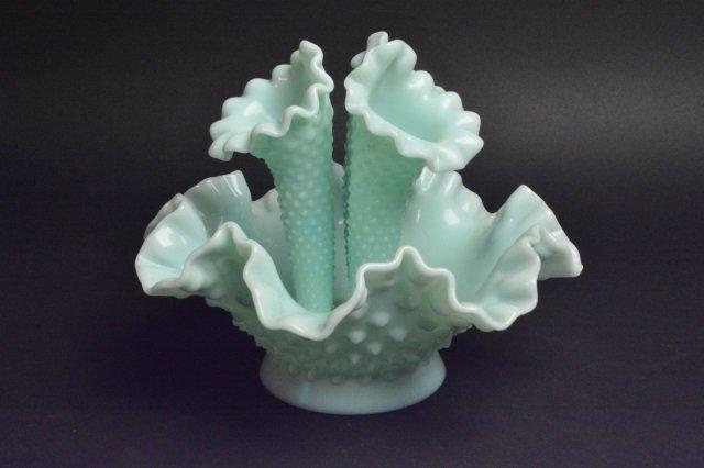 Fenton Epergne Opalescent Hobnail Vase - 6