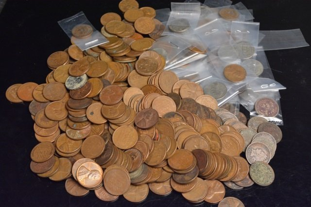 Unsorted Large Lot of Wheat & Indian Head Pennies
