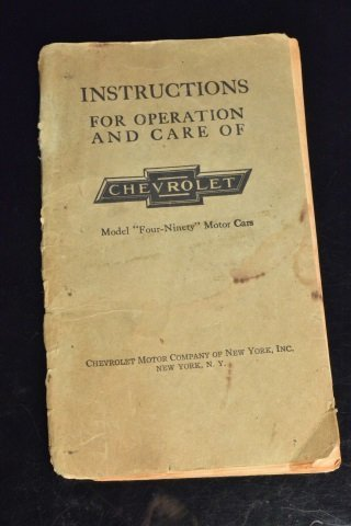 Chevrolet Model 490 Operating Instruction Manual