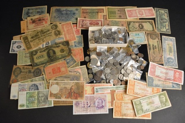 LARGE Lot of Foreign Coins & Currency