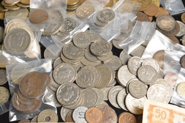 LARGE Lot of Foreign Coins & Currency - 5