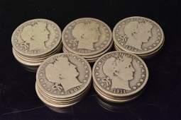 (25) Silver Barber Half Dollars