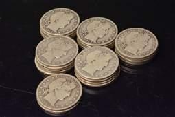 (27) Silver Barber Half Dollars