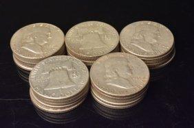 (25) Silver Franklin Half Dollars