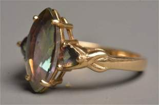 Ladies 10K Yellow Gold Ring W/ Marquise & Topaz