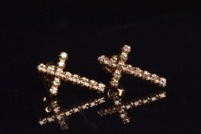 Ladies 14K Yellow Gold Cross Earrings