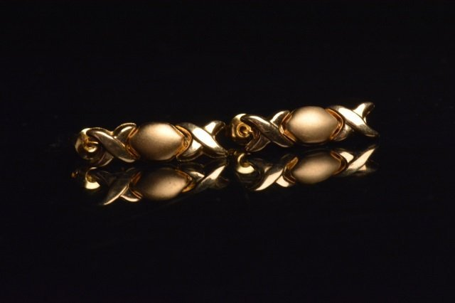 14K Yellow Gold Earrings W/ X & O Design