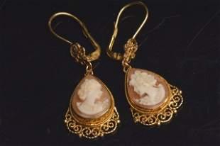 Ladies 14K Yellow Gold Earrings W/ Cameos