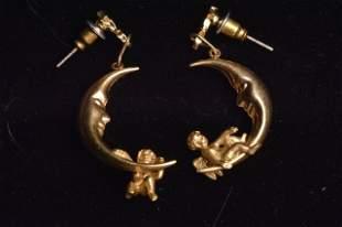 Ladies 14K Yellow Gold Earrings W/ Angel & Moon