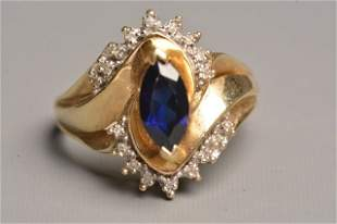 10K Yellow Gold Ring W/ Marquise Saphire, Diamonds