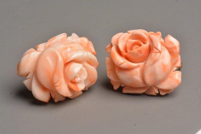 Ladies Sterling Silver Coral Rose Earrings