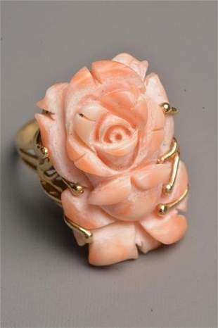 Ladies 14K Yellow Gold Ring W/ Carved Rose Coral