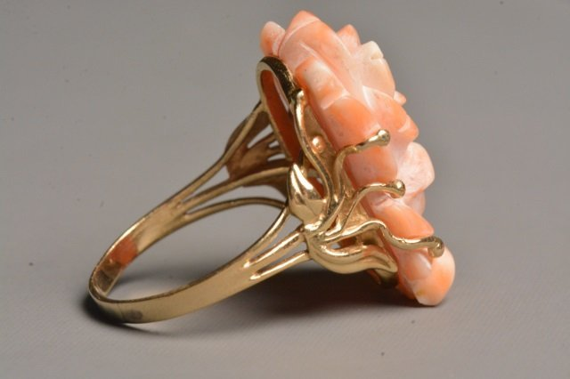 Ladies 14K Yellow Gold Ring W/ Carved Rose Coral - 3