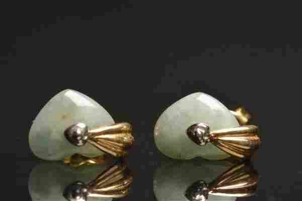 14K Yellow & White Gold Earrings W/ Jade Heart