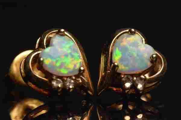 10K Yellow Gold Earrings Heart Opals & Diamonds