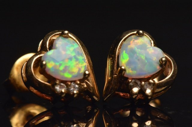 10K Yellow Gold Earrings Heart Opals & Diamonds