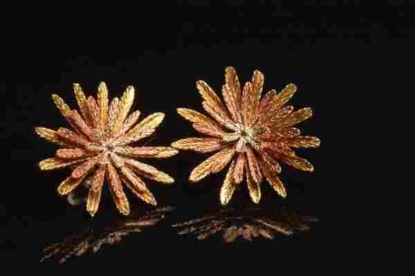14K Yellow, Rose & White Gold Flower Earrings