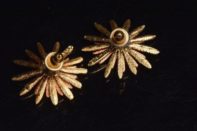 14K Yellow, Rose & White Gold Flower Earrings - 3