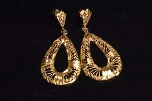 14K Yellow Gold Filigree & Diamond Cut Earrings