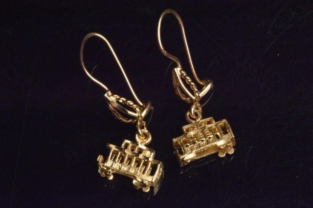 14K Yellow Gold Dangle Trolley Car Earrings
