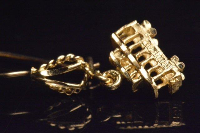 14K Yellow Gold Dangle Trolley Car Earrings - 2