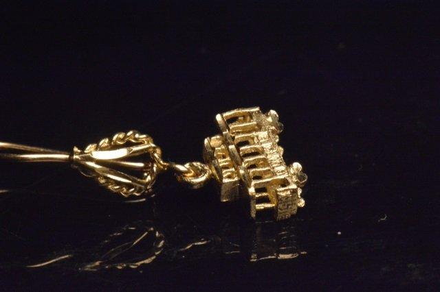 14K Yellow Gold Dangle Trolley Car Earrings - 3