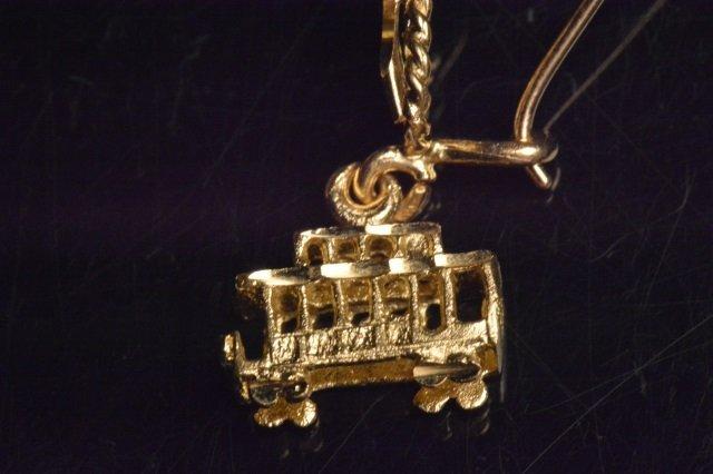 14K Yellow Gold Dangle Trolley Car Earrings - 4