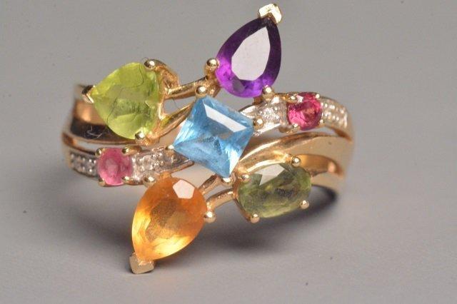 14K Yellow Gold Ring W/ Gemstones