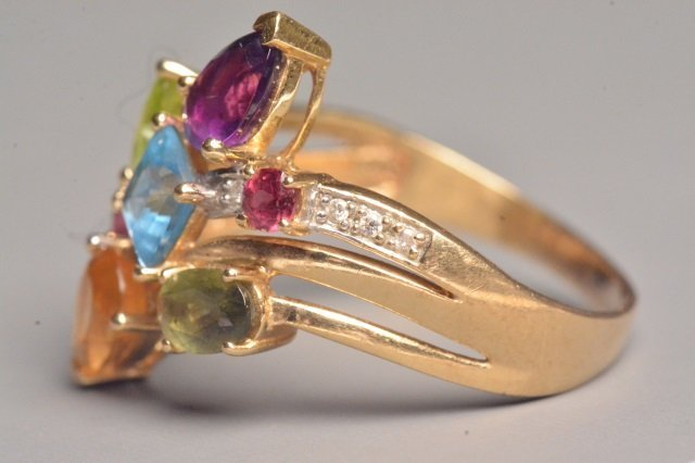 14K Yellow Gold Ring W/ Gemstones - 2