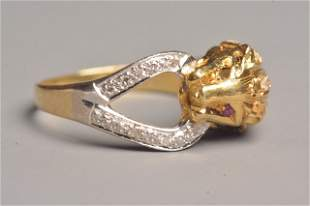18K Yellow Gold Lion Ring W/ Rubies