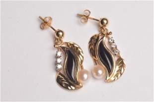 14K Yellow Gold Earrings W/ Diamonds & Pearls