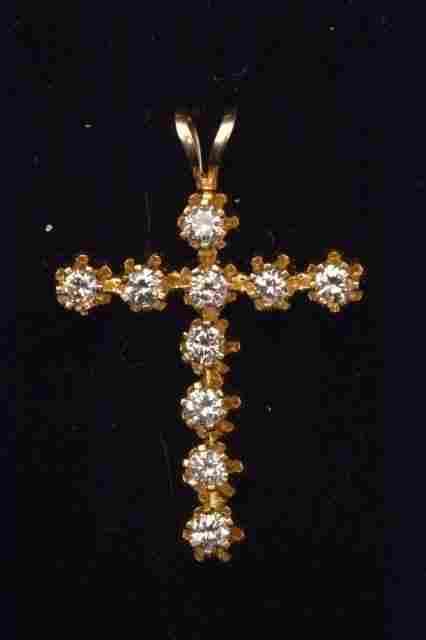 14K Yellow Gold Cross Pendant W/ .40CTW Diamonds