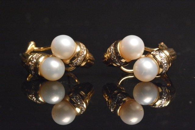 14K Yellow Gold Earrings W/ 1/10 CTW Diamonds