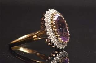 14K Yellow Gold RIng W/ Amethyst & Diamonds