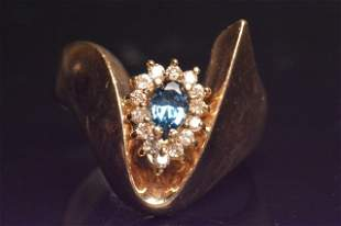 14K Yellow Gold Ring W/ Topaz & Diamonds