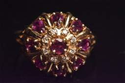 14K Yellow Gold Ring W/ Rubbies & Diamonds
