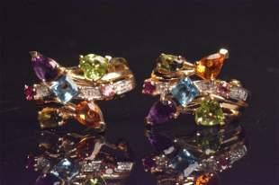 14K Yellow Gold Earrings W/ Gemstones