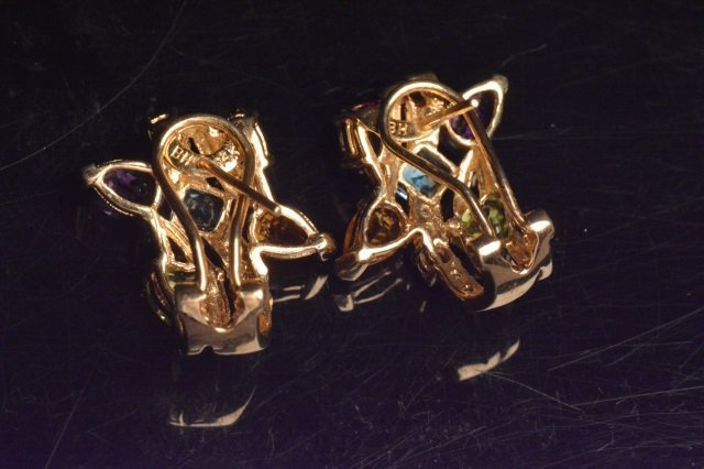 14K Yellow Gold Earrings W/ Gemstones - 3